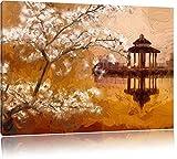 Kirschbaum an stillem See in Japan Format: 60x40 auf Leinwand, XXL riesige Bilder fertig gerahmt mit Keilrahmen, Kunstdruck auf Wandbild mit Rahmen, günstiger als Gemälde oder Ölbild, kein Poster oder Plakat