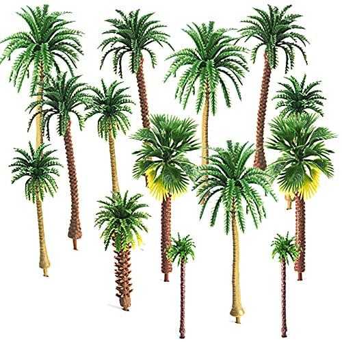 Mlysnd Modell träd, 30 stycken palmträd plast träd DIY landskap 3D modell för hantverk, konstgjord regnskog layout (5-9 cm, grön)