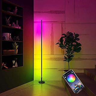 Lampadaire D'angle À LED, RVB 20W Lampe D'angle À Colonne Lumineuse À Changement De Couleur Moderne Lampe Sur Pied À Inten...