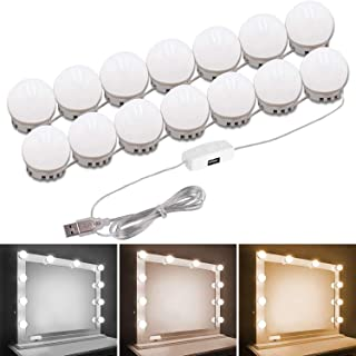 Gluckluz Vanity Mirror Lights Makeup LED Mirror Lighting Hollywood DIY 14 Light Bulb for Women Indoor Home Bathroom Bedroo...