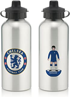 Chelsea Official Personalized FC Player Figure Water Bottle with Spring Hook (600ml) - Silver/White (Free Personalization)