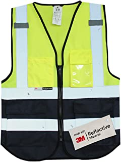 Salzmann 3M Chaleco de Trabajo Multibolsillos | Chaleco reflectante con cremallera | Hecho con cinta reflectante 3M
