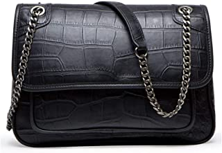 Women's Shoulder Bag, Luxurious Leather Waterproof Adjustable Chain Medium Capacity Crossbody Bag Simple Leisure Outdoor Travel Storage Small Pouch,Black,27 * 18.5 * 12cm