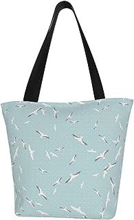 Lesif Einkaufstaschen, fliegende Möwen in Blau, Segeltuch, Schultertasche, Einkaufstasche, wiederverwendbar, faltbar, Reisetasche, groß und langlebig, robuste Einkaufstaschen