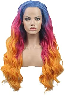 FSLWIGS Long Rainbow Hair Wig Multi-Color Natural Wave Synthetic Lace Front Wigs Colorful Heat Resistant for Music Festival, Theme Parties, Wedding, Concerts, Dating, Cosplay, Daily Use & More