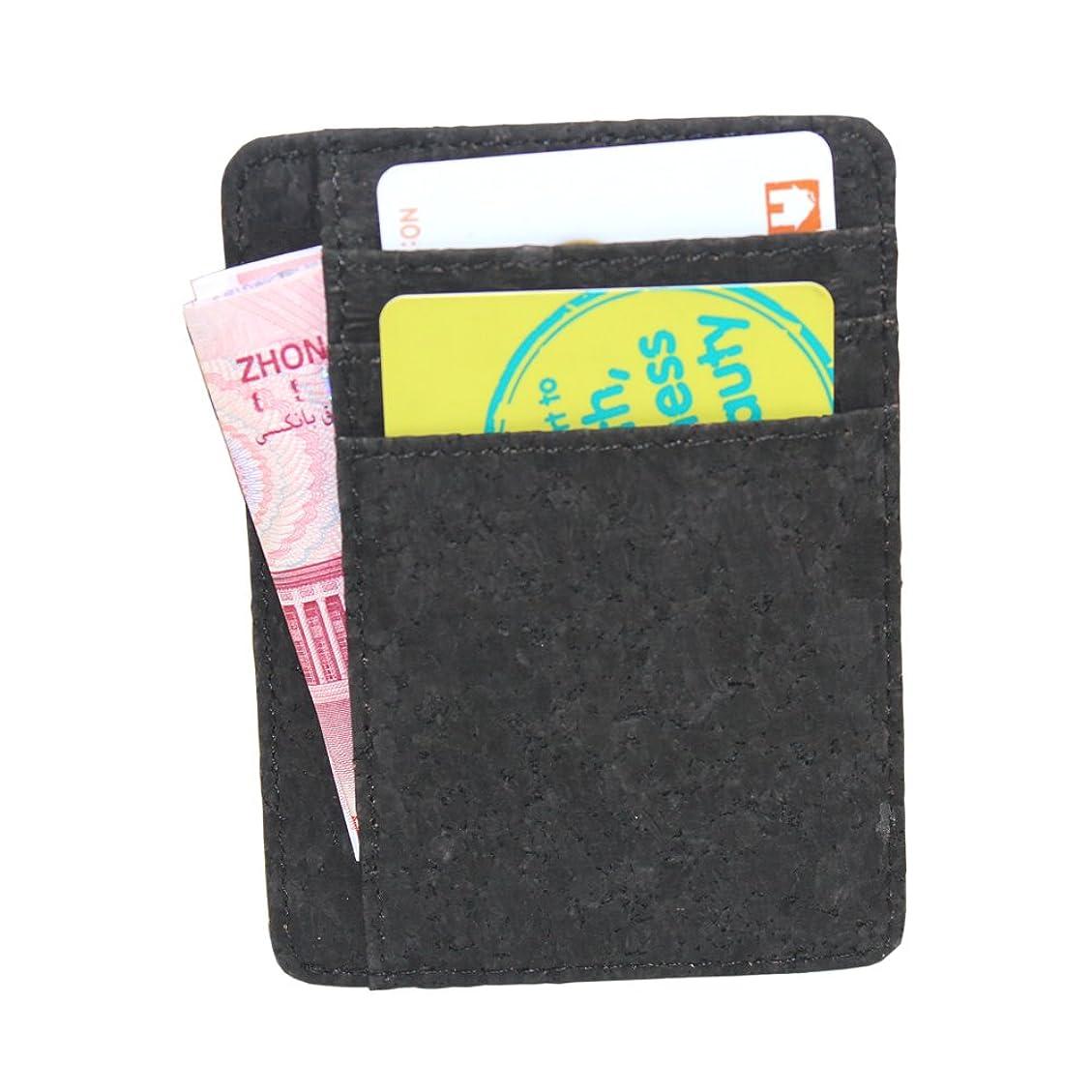 明確に入場セッティング[boshiho] カードケース コルク 小銭入れ お札入れ エコ製品 ビジネス便利 黒