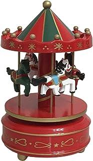 THEE Merry-GO-Round Carrusel Caja de Música de Madera Decoración de Hogar
