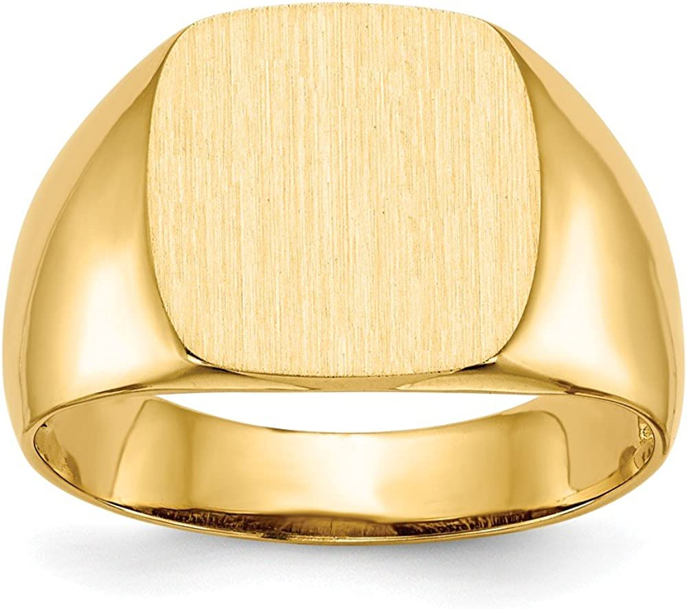14k Yellow Gold 12.5x12.5mm Mens Signet Band Ring Size 9.00 Man Fine Jewelry For Dad Mens Gifts For Him