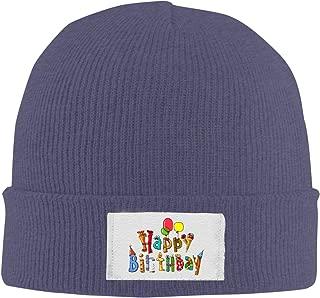 Unisex Elastic Knitted Beanie Cap Happy Birthday Words Art Winter Outdoor Warm Skull Hats
