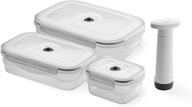 Compactor Set de 3 cajas alimentarias y bomba. Fabricadas en polipropileno. Gama aspifresh. Tamaño: 14 x 11,5 x 7,5 cm. / 23,2 x 15,2 x 7,3 cm. / 26,8 x 19 x 7,3 cm. / Bomba: 5,9 x 4 x 14,2 cm. ACC922