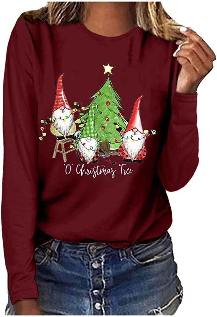 Kethorina Christmas Gnomes T Max 50% OFF Shirt for O' Large-scale sale Women F Tree