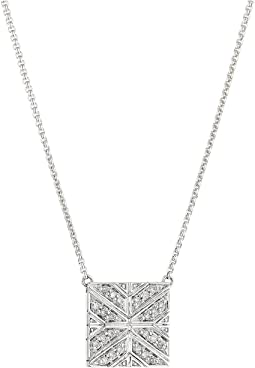 Modern Chain Diamond Square On 1.2mm Box Chain Necklace