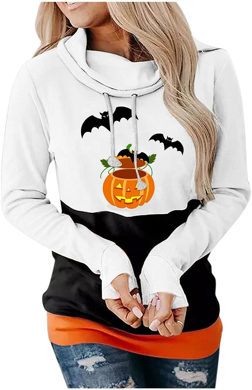 Womens Hoodiess Plus Size,Pumpkin Print Halloween Skull Long Sleeve Pullover Tops Lightweight Sweatshirt
