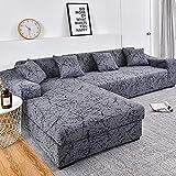 WXQY Patrón geométrico Fundas elásticas Funda de sofá elástica Funda de sofá de protección para Mascotas Esquina en Forma de L Funda de sofá Antideslizante A10 2 plazas