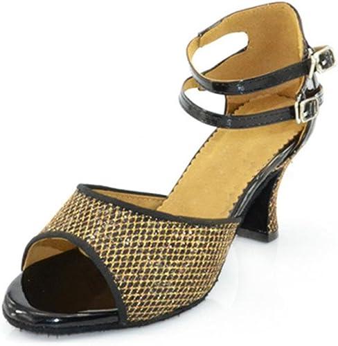 Sandalias de damen salsa de brillo samba latina tango salón de baile tacón alto suede de cuero suelas suaves hebilla schuhe de danza Gold