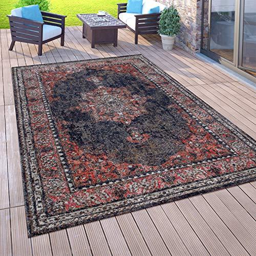 Paco Home Outdoor-Teppich Für Balkon, Kurzflor Mit Orient-Design, versch. Farben u. Größen, Grösse:80x250 cm, Farbe:Rot 3