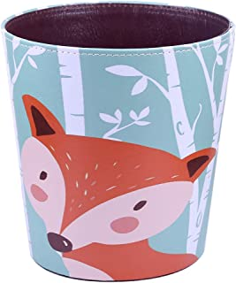 RuiyiF Waste Basket Deskside Decorative Farmhouse Trash Can withoud Lid for Bathroom Kids Room Girls Bedroom Garbage Cans for Kitchen Office Recycling Bin (Fox)