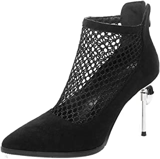 BIGABIGA Women Elegant Pumps Stiletto Mesh Zipper Shoes