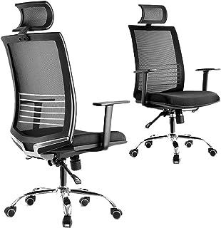 Silla de oficina, ergonómico, silla de la computadora con orientable giratoria con respaldo alto de la cintura de almohadas, escritorio y silla reclinable con la función y la posición de bloqueo