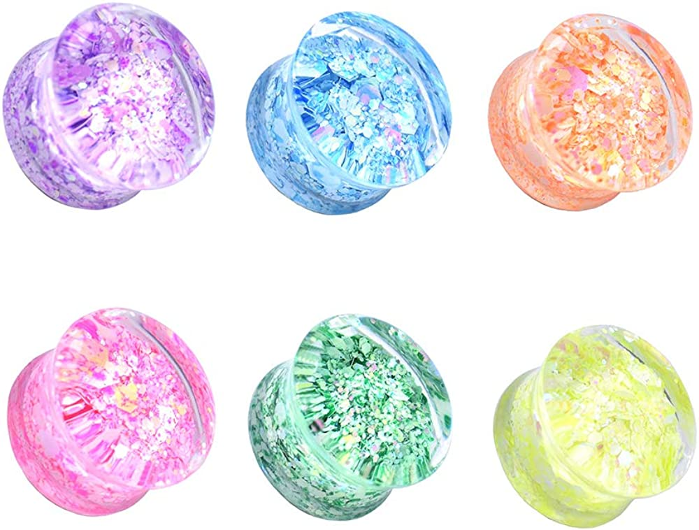 Jboyanpei Multicolor Acrylic Ear Tunnels Plugs and Gauges Ear Stretcher Expander Body Jewelry