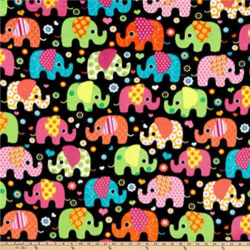 Baum Textiles Winter Fleece Elephants Multi Fabric By The Yard, Multicolor