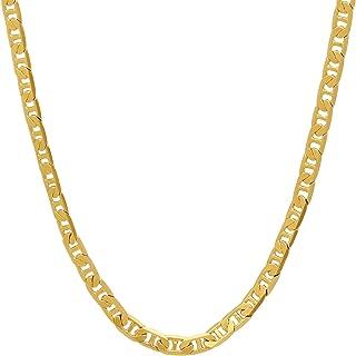 3.5mm 24K Gold Plated Mariner Link Chain + Microfiber Jewelry Polishing Cloth