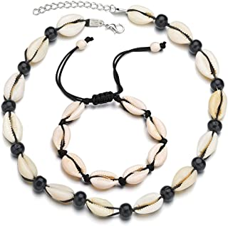 Shell Necklace Choker, Handmade Natural Cowrie Pearls Seashell Fashion Hawaii Wakiki Beach Adjustable Rope Jewelry Set, Ideal Gift for Men, Women, Mother & Girl Friend - 2 pack