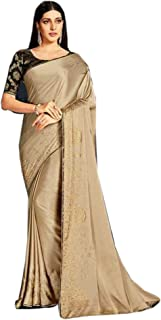 Designer Indian Gold Cocktail Party Swarovski Embellished Saree Blouse Woman Sari 6584