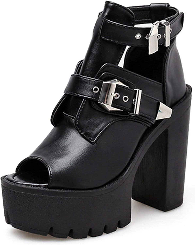 Black Leather Boots Platform Heels Buckle Peep Toe Summer shoes Woman Sexy Footwear Spring