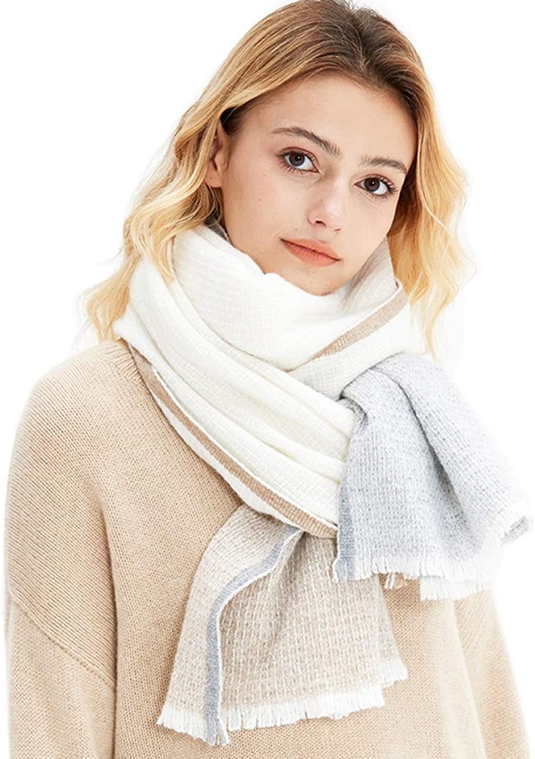 Stoles Scarf Wool Shawl Winter Comfortable Warm Scarf Ladies Dualuse Thickening Lamb Hair Pure Cashmere Soft Fashion Shawl (color   A, Size   200  65 cm)