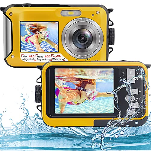 iSunFun Macchina Fotografica Subacquea, Fotocamera Subacquea Digitale 48MP Full HD 2.7K, Doppio Schermo, Zoom Digitale 16X (Giallo)