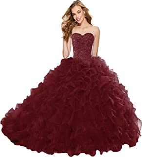 APXPF Women`s Organza Ruffle Quinceanera Dresses Prom Ball Gowns for Sweet 16