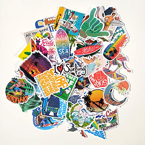 Juego de 50 Pegatinas de Surf Vinilos Impermeable Stickers Surfing, Sport, Ocean, Playa, Calcomanías para Portátil, Auto, Laptop