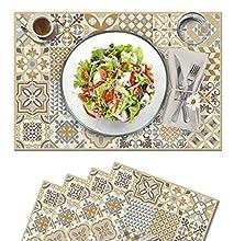 Vilber, juego de 4 manteles individuales Vinilo (30,5x45,6x0,22 cm), Antimanchas, Antideslizantes y resistentes al calor. Combinables con caminos de mesa y alfombras. TOLEDO 04