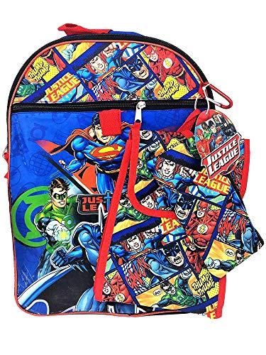Justice League Backpack and Lunch Box Bundle ~ 5 Pc Set with Backpack, Lunch Bag, More Featuring Batman Superman Green Lantern Flash