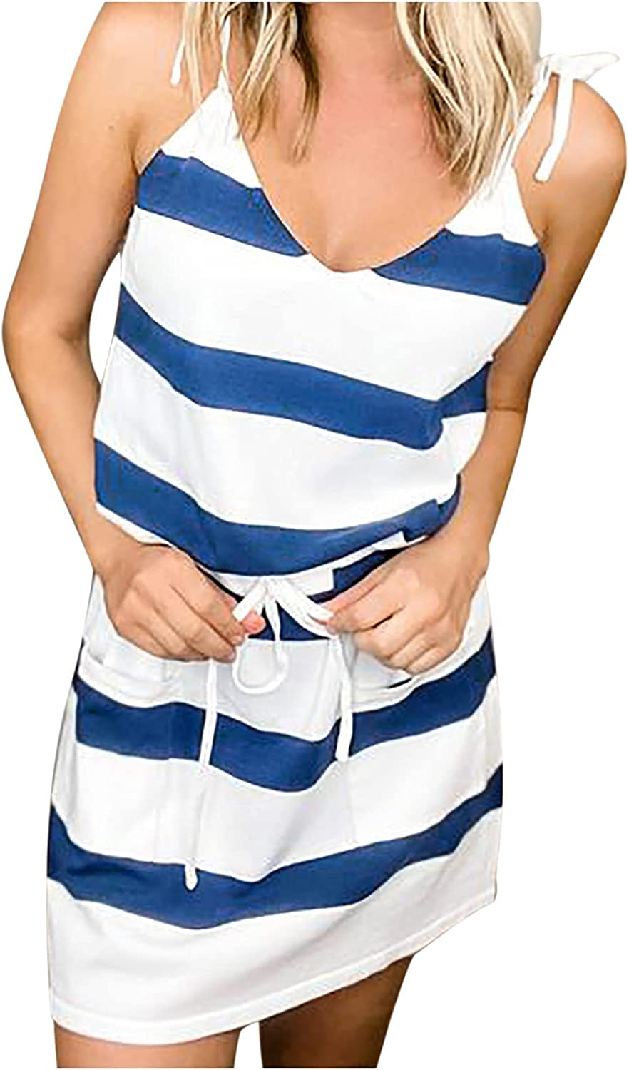 Qonii Striped Dress for New product type Max 65% OFF Women V-Neck with H Pockets Summer