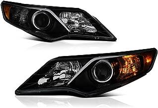 VIPMOTOZ Black Smoke OE-Style Projector Headlight Headlamp Assembly For 2012-2014 Toyota Camry Halogen Model, Driver & Passenger Side