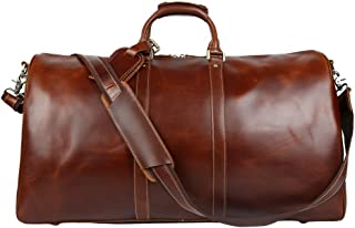 Genda 2Archer Men's Duffle Italian Imported Leather Weekender Travel Bag 22.83inch*11inch*12.99inch Brown