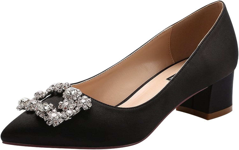 ERIJUNOR Women Comfort Low Heel Closed Toe Rhinestone Wedding Evening Satin shoes