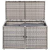 Funktions Kissenbox RIVA 120x60x64cm, Metall + Polyrattan grau, mit Deckel und zwei Türen, innen zwei Ebenen