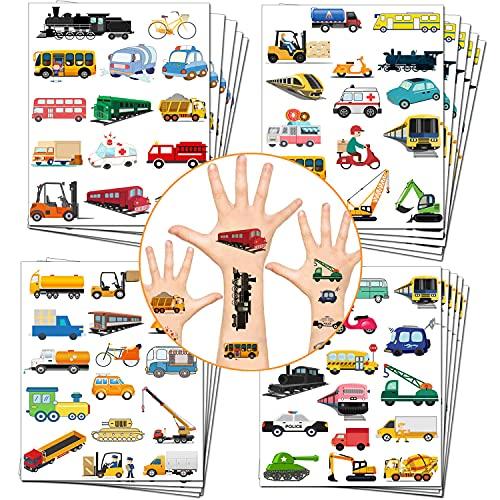 Herber 20 hojas de tatuajes temporales para automóviles y camiones para niños Vehículos Construcción de coches Falso Tatuaje Fiesta favor para niños Fiesta de Cumpleaños Suministros Decoración