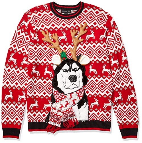Blizzard Bay Men's Ugly Christmas Sweater Dogs, Red/White, XX-Large