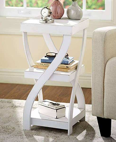 Twisted Side Table Modern Accent Table With Distressed White Finish