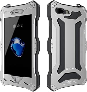 iPhone 7 Plus Case,Bpowe Gundam Gorilla Glass Aluminum Metal premium protection Shockproof Military Bumper Heavy Duty Sturdy Protective Cover Shell Case for iPhone 7 plus 5.5 inch (Silver)