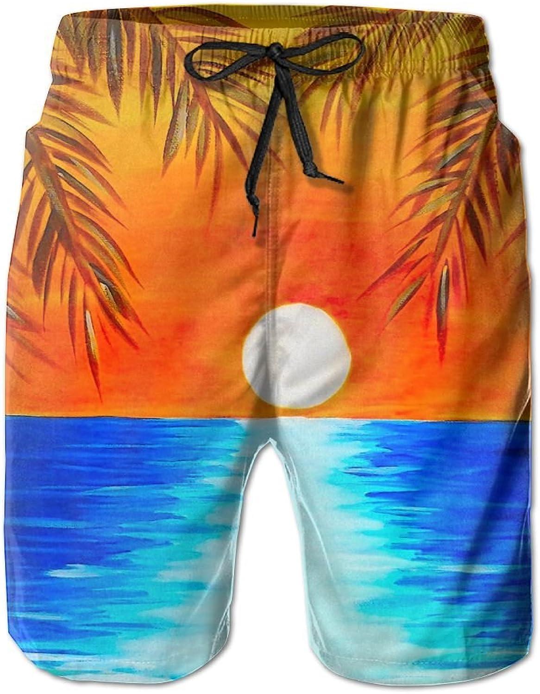 0da83ded10 Tydo Sunset Beach Painting Men's Beach Shorts Quick Dry Swim Swim Swim  Trunks Surf Board Pants With Pockets For Men fbed89