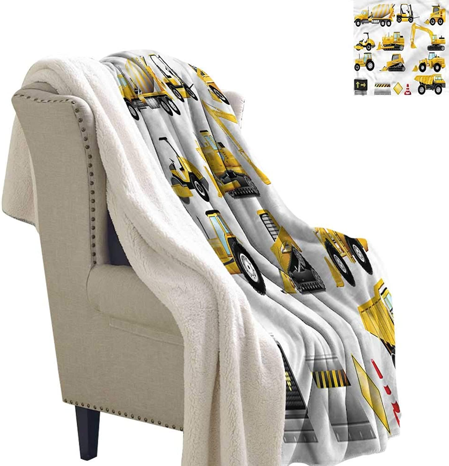 AndyTours Travel Blanket Boys Yellow Construction Site Reversible Blanket for Bed and Couch W59 x L31