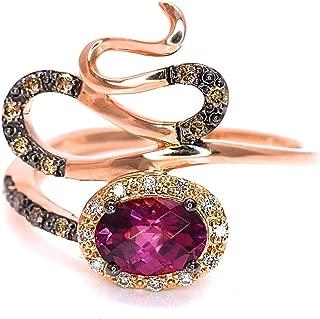LeVian Rhodolite Garnet Chocolate White Diamonds Swirl Ring 1.01 cttw 14k Rose Gold NEW Size 7