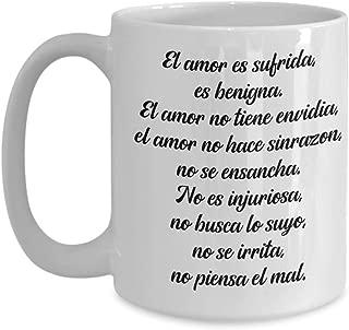 Regalos cristianas catolica de tasas para cafe con versiculos de la biblia en espanol 1 Corintios 13:4, Christian religion bible scripture verses coffee mug catholic spanish gifts