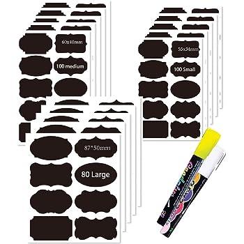 Lot de 280 /étiquettes autocollantes avec 2 marqueurs /à craie effa/çables etc. les pots /à /épices Parfaits pour la cuisine les confitures