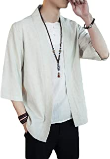 Howely Men 3/4 Sleeve Linen Coat Chinese Style Casual Solid Cardigan Sweater